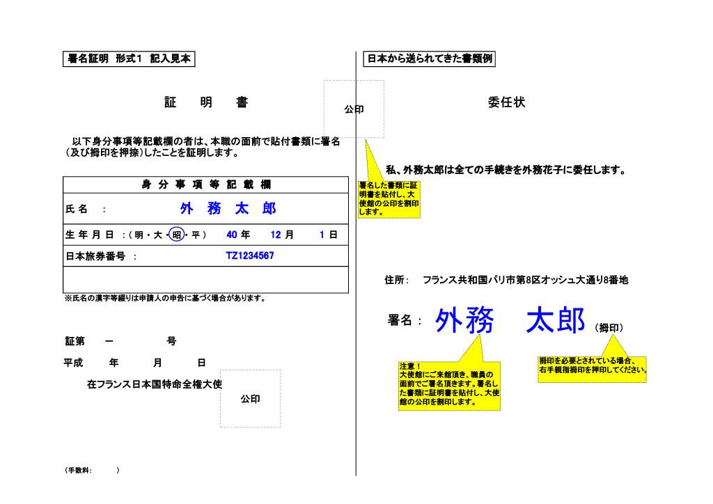 署名証明(貼付型)の例